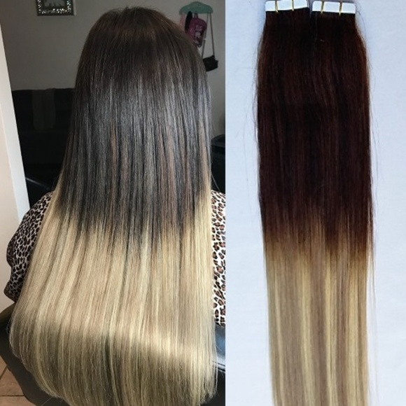 Hair Faux You Accessories 18 Ombre Tape In Human Hair Extension
